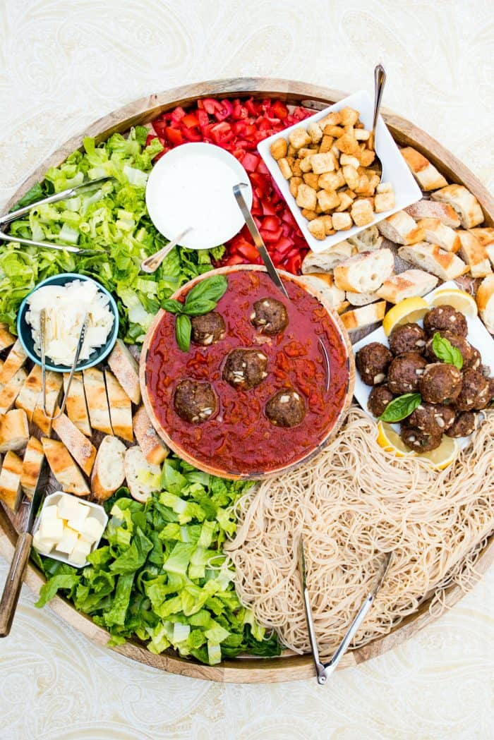 BEST Spaghetti and Meatballs Epic Dinner Board