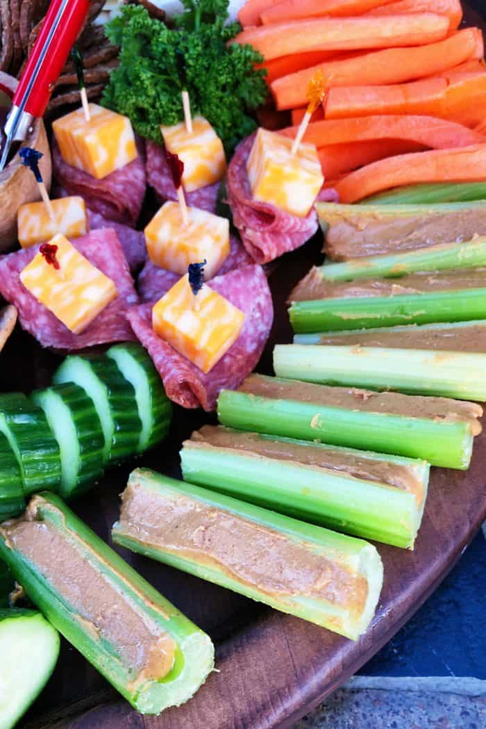 Holiday Kid-Friendly Charcuterie Board - celery peanut butter sticks