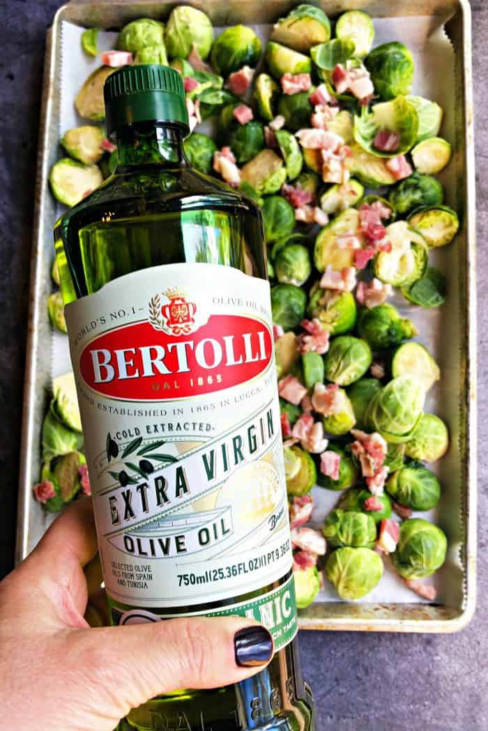 Pancetta Roasted Brussels Sprouts - drizzle with oil