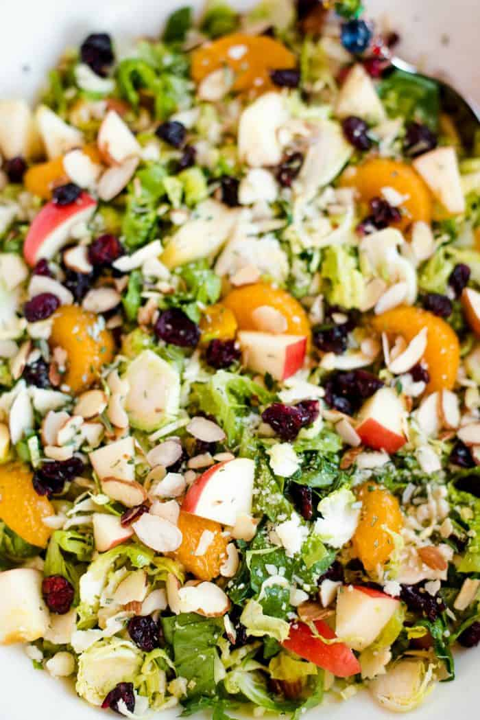 Holiday Shaved Brussels Sprout Salad with Vinaigrette