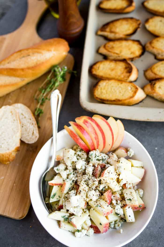 Best Apple Blue Cheese Crostini Appetizer
