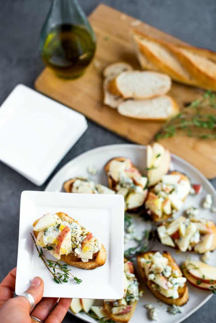 Apple Blue Cheese Crostini Appetizer