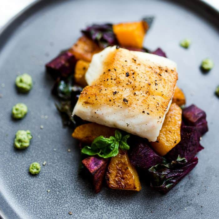 Entertaining dish: Cashew Pesto Seared Cod Fillets