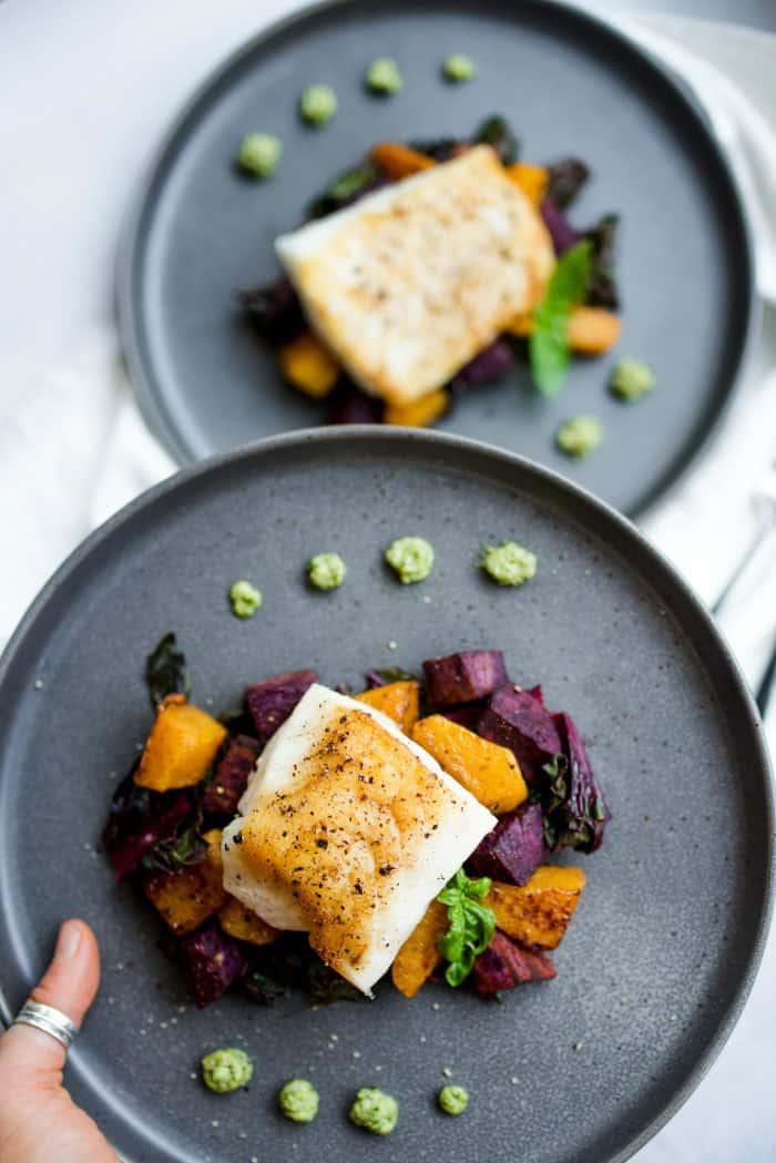 BEST Cashew Pesto Seared Cod Fillets