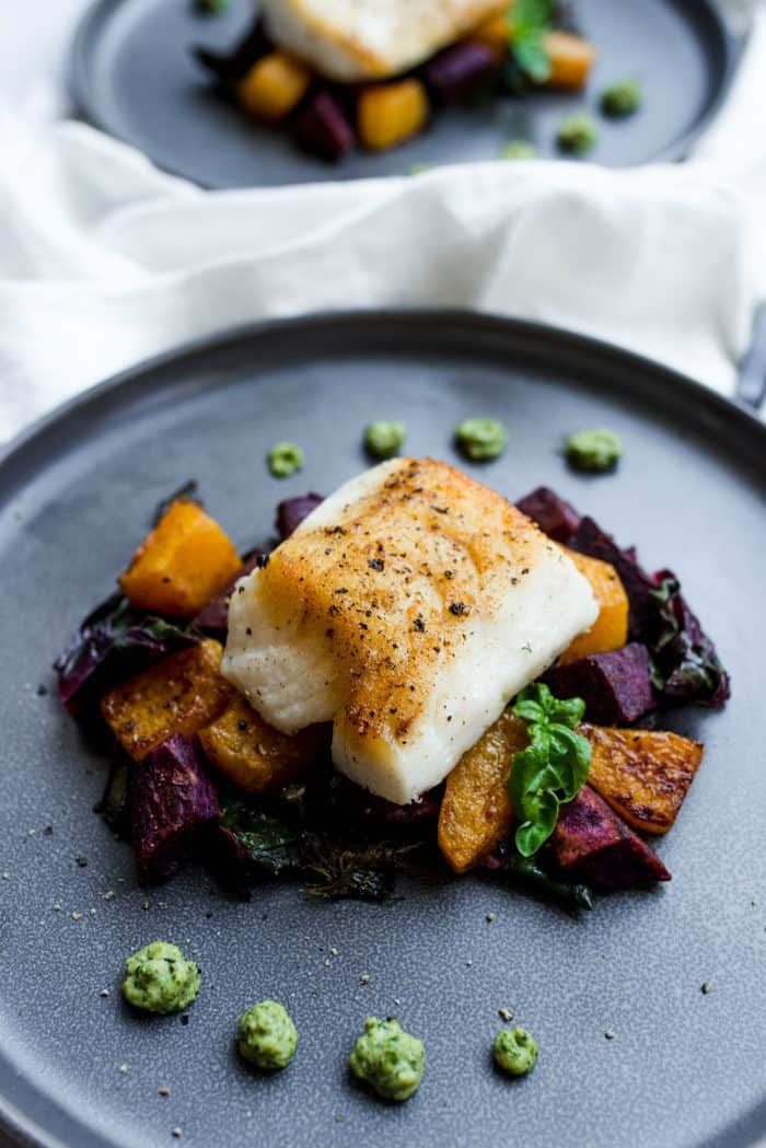Cashew Pesto Seared Cod Fillets