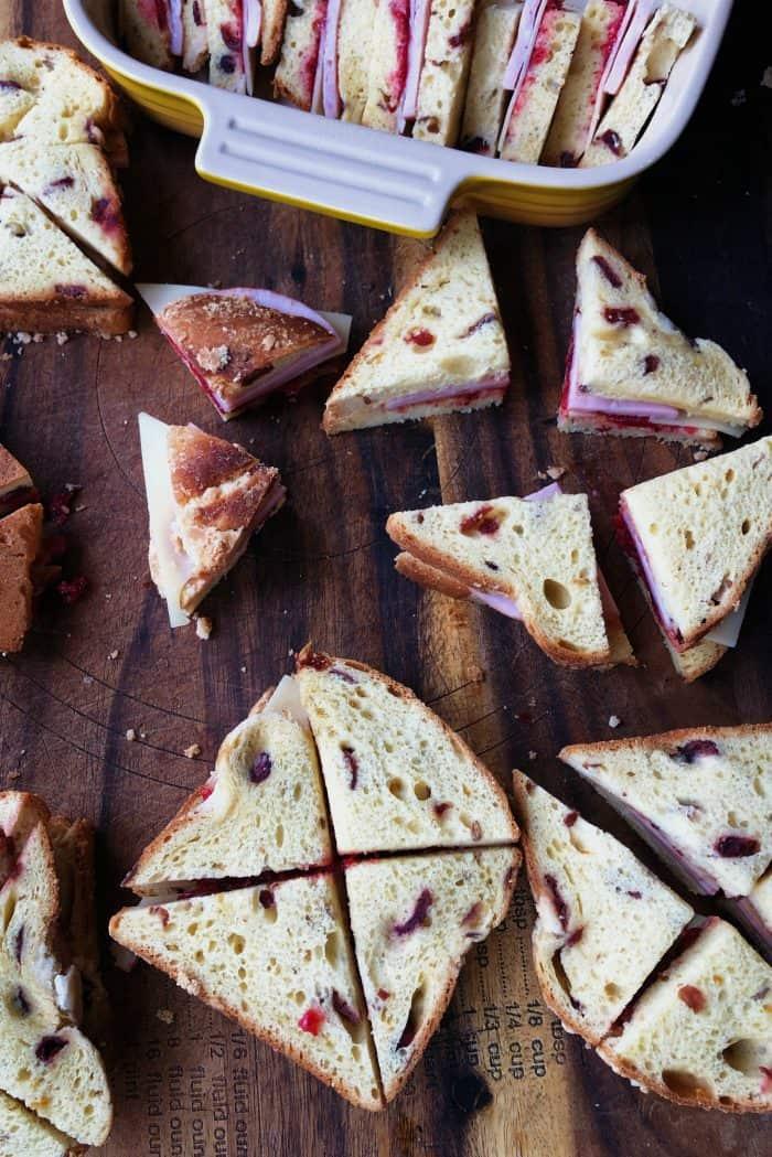 Overnight Monte Cristo Breakfast Casserole - cut in triangles
