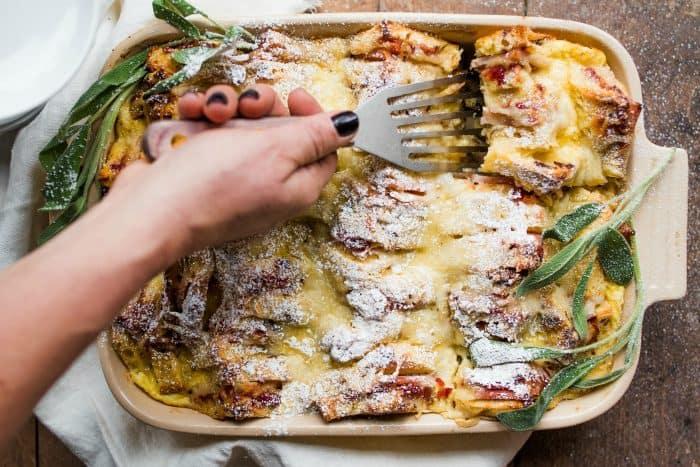 Easy Overnight Monte Cristo Breakfast Casserole