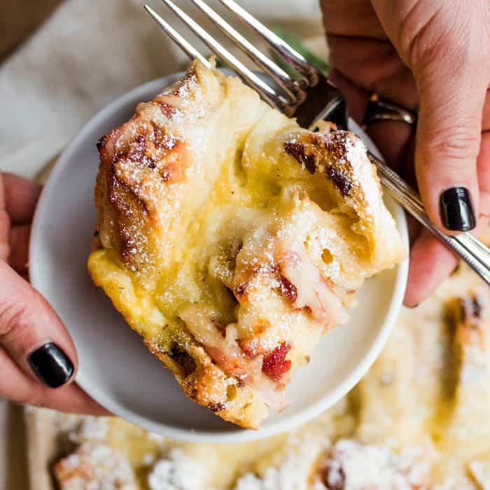 Delicious Overnight Monte Cristo Breakfast Casserole