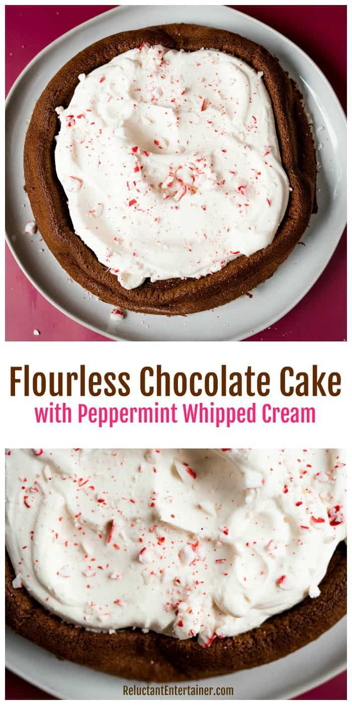 Flourless Chocolate Cake with Peppermint Whipped Cream Recipe