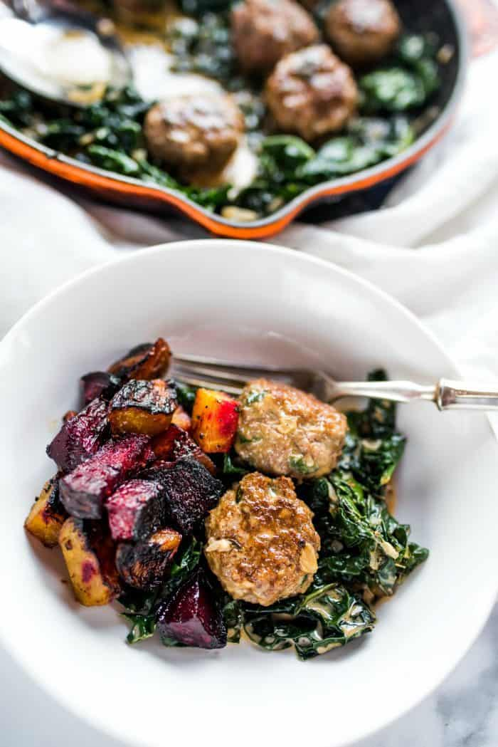 EASY Lamb Meatballs and Coconut Shallot Creamed Kale