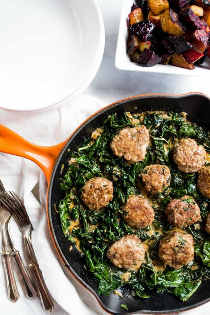 BEST Lamb Meatballs and Coconut Shallot Creamed Kale