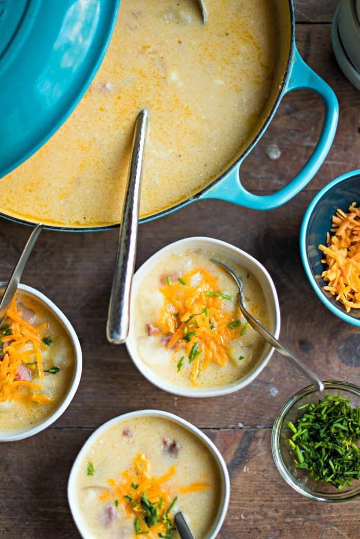 BEST Baked Potato Cheddar Ham Soup