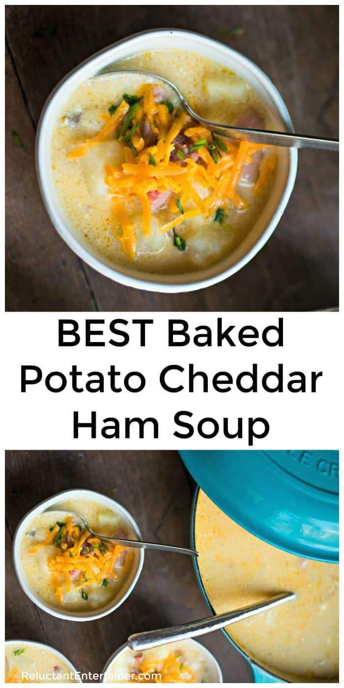 BEST Baked Potato Cheddar Ham Soup Recipe