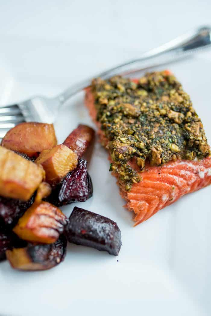 BEST Pistachio Lime Baked Salmon
