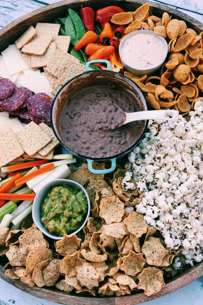 Game Day Charcuterie Board - black bean dip