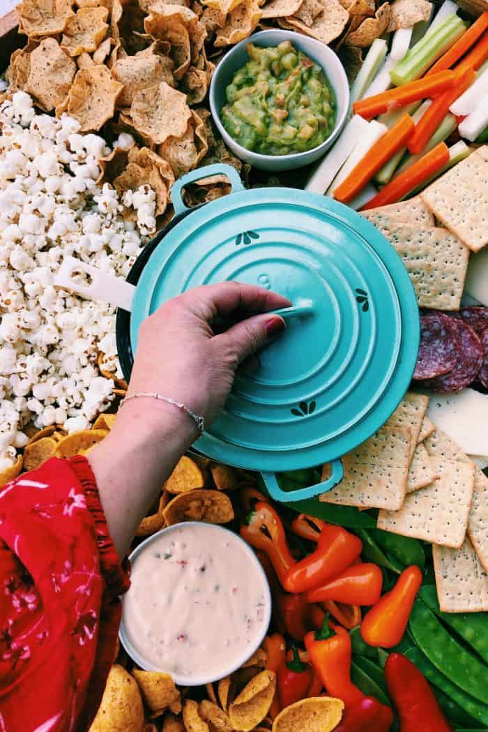 Game Day Charcuterie Board - popcorn