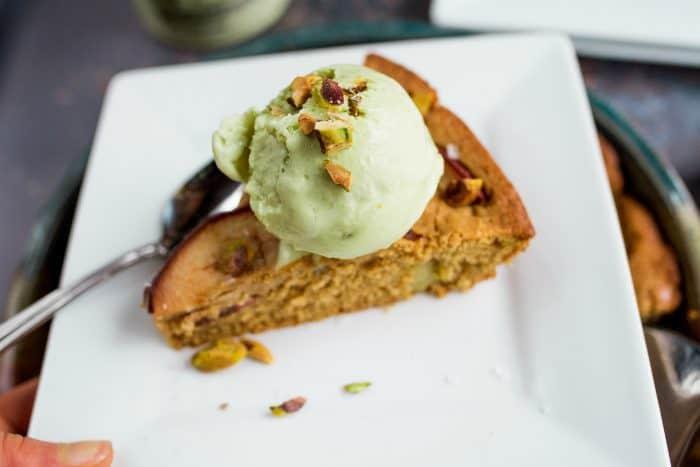 Pistachio Pear Olive Oil Cake - slice
