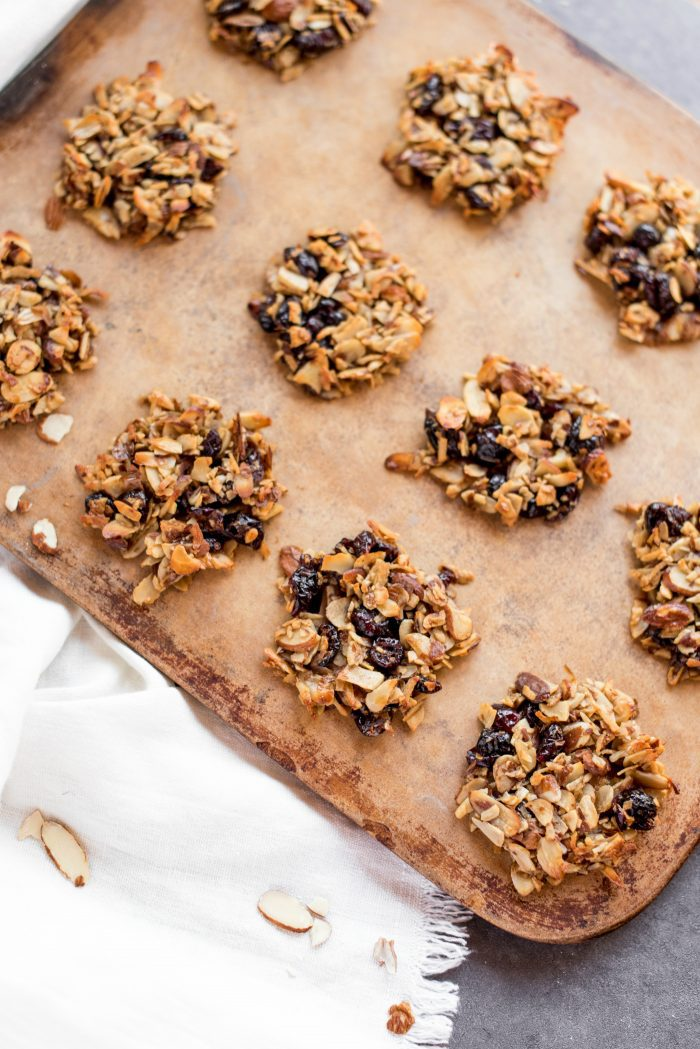 CRISPY Almond Cranberry Crunch Cookies