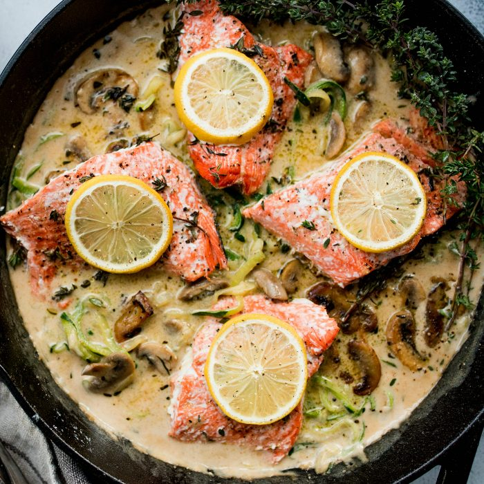 Salmon Mushroom Zoodle Marsala with Lemon