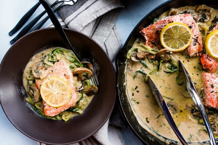 BEST Salmon Mushroom Zoodle Marsala with Lemon