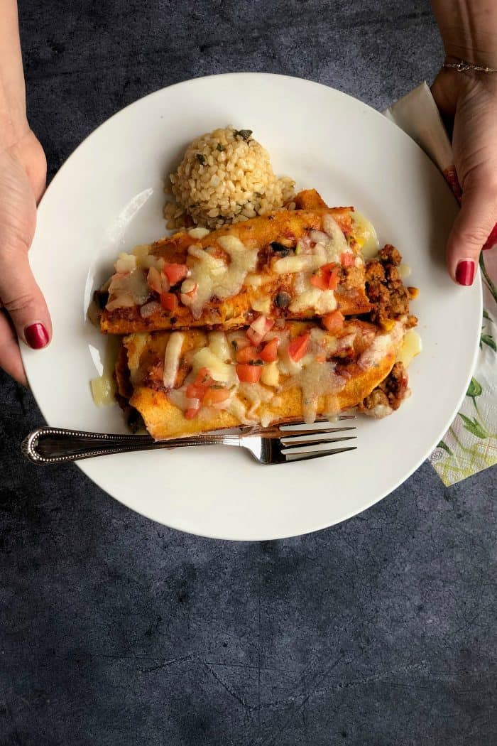 Simple Trader Joe's Red Sauce Enchiladas