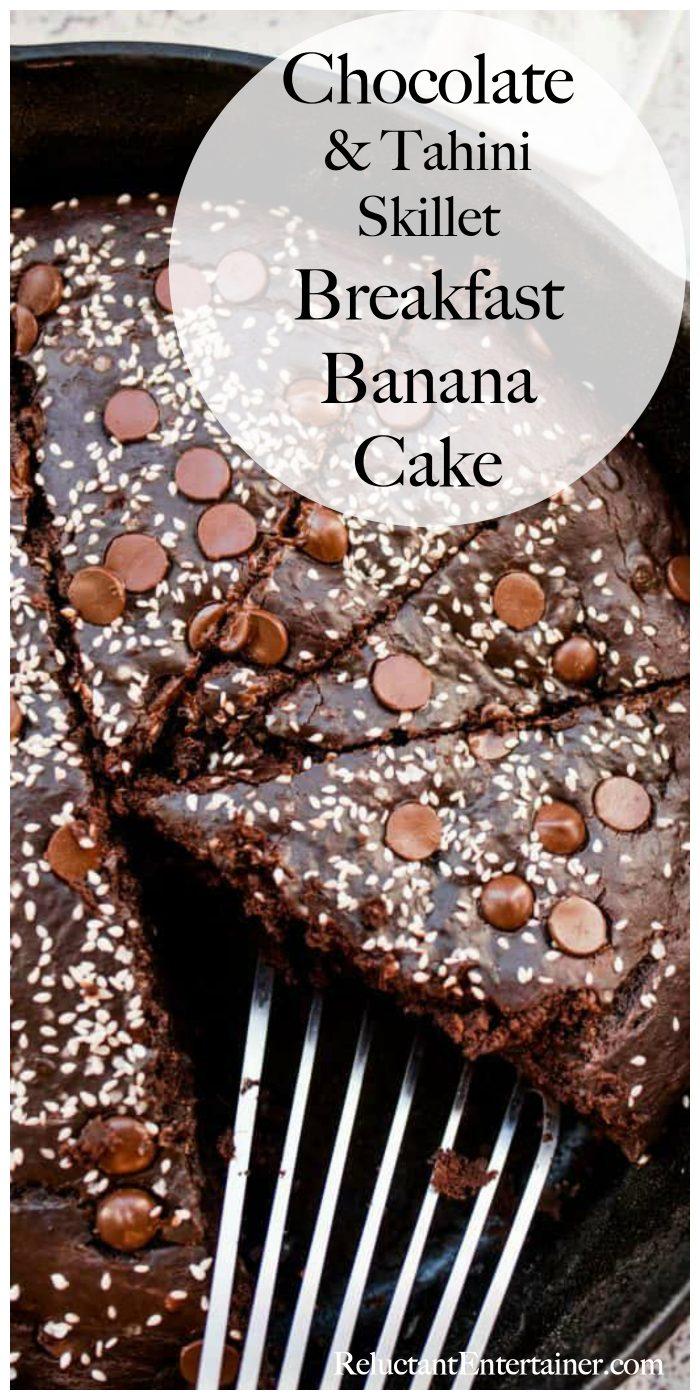 Dark Chocolate Tahini Skillet Breakfast Banana Cake Recipe