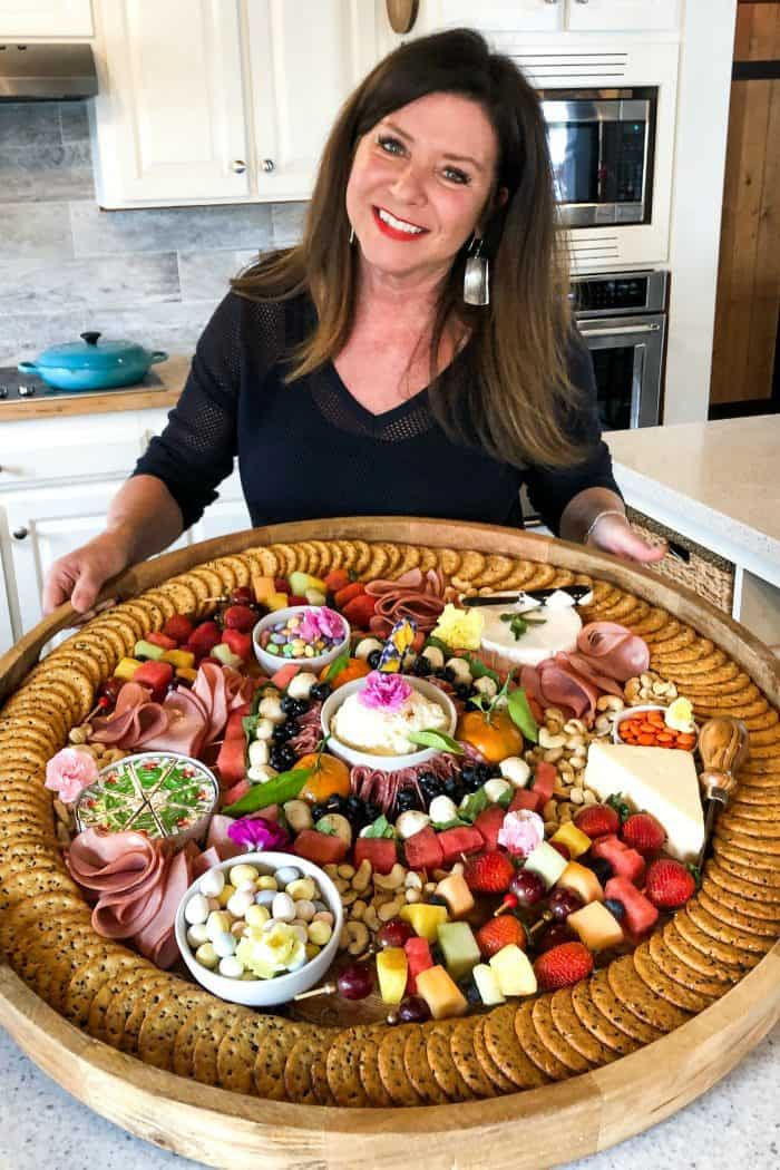 SPRING Charcuterie Board garnished with flowers
