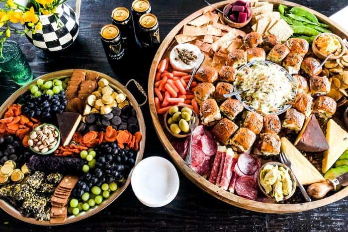 Cheesy Irish Sliders Charcuterie Board - spread