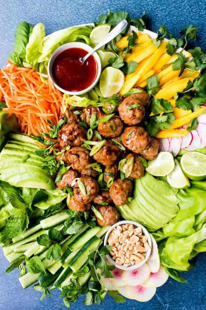Meatball Chicken Lettuce Wraps Plate