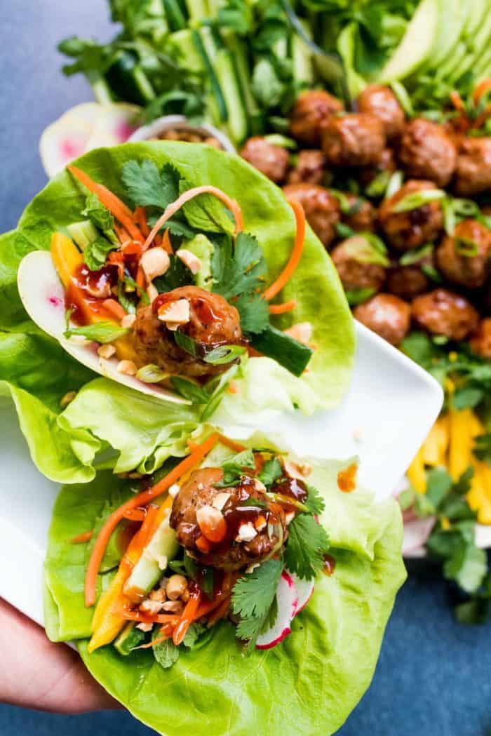 Easy Meatball Chicken Lettuce Wraps Plate Recipe