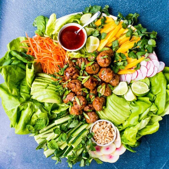 Best Meatball Chicken Lettuce Wraps Plate Recipe