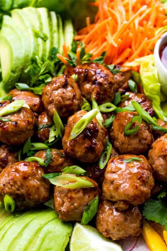 Meatball Chicken Lettuce Wraps Platter