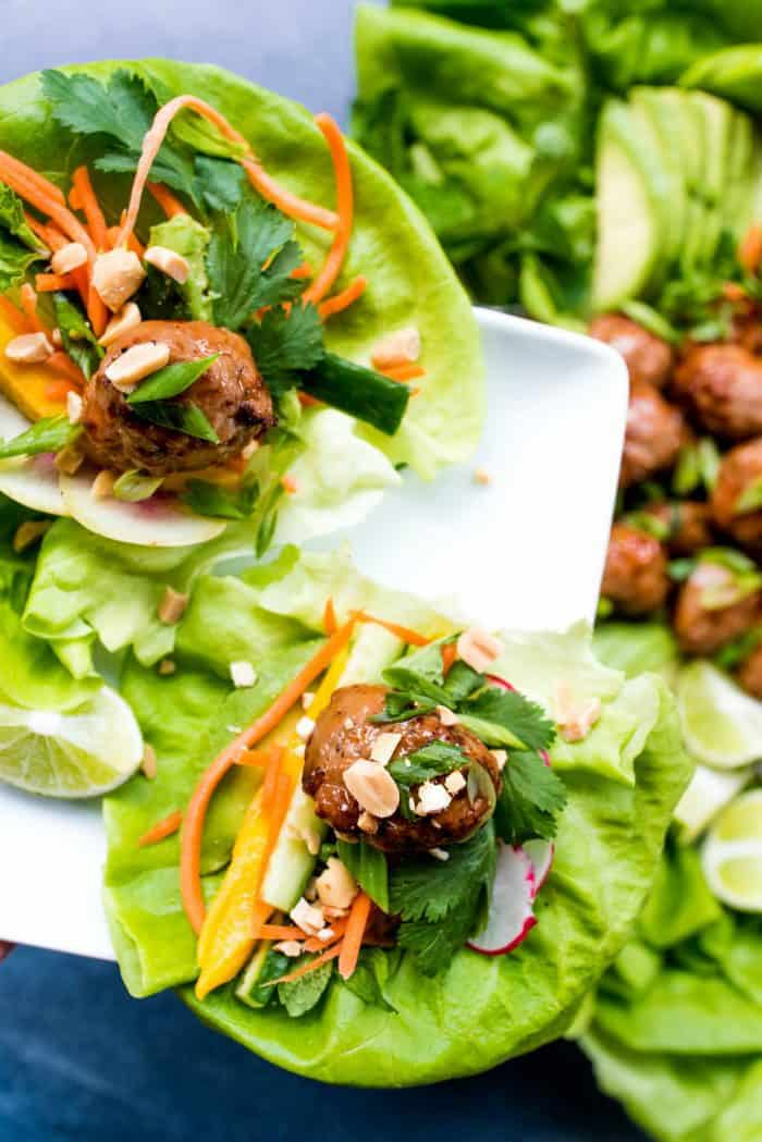 Tasty Meatball Chicken Lettuce Wraps Plate