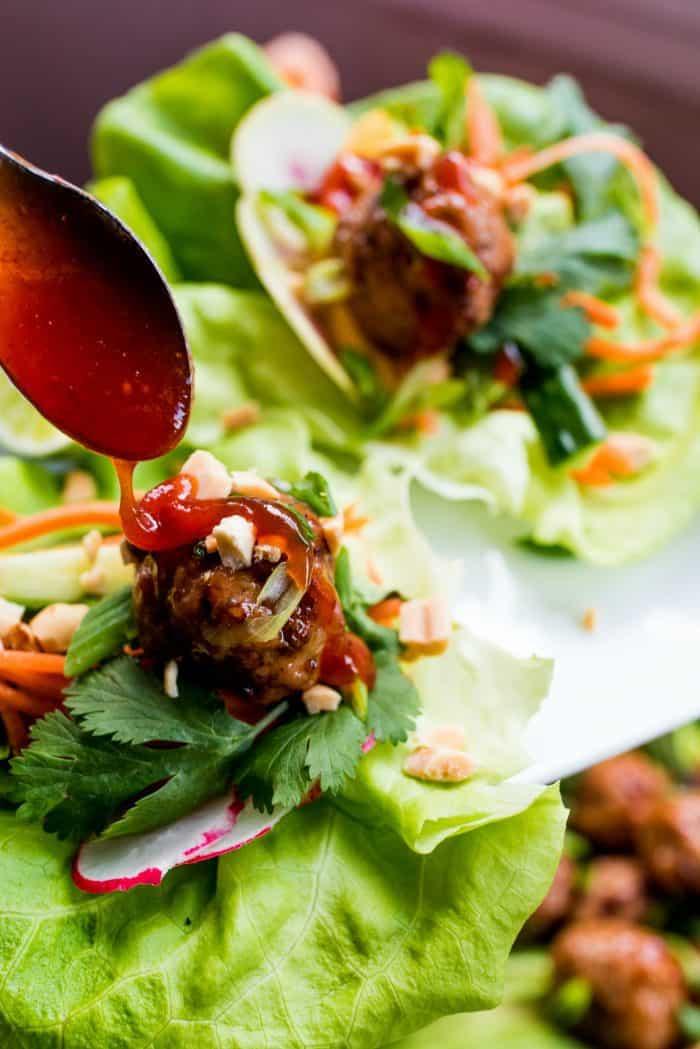 Best Meatball Chicken Lettuce Wraps Plate