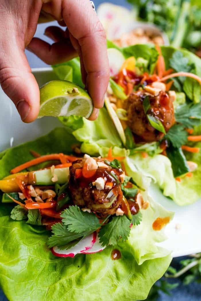 Best Meatball Chicken Lettuce Wraps Platter