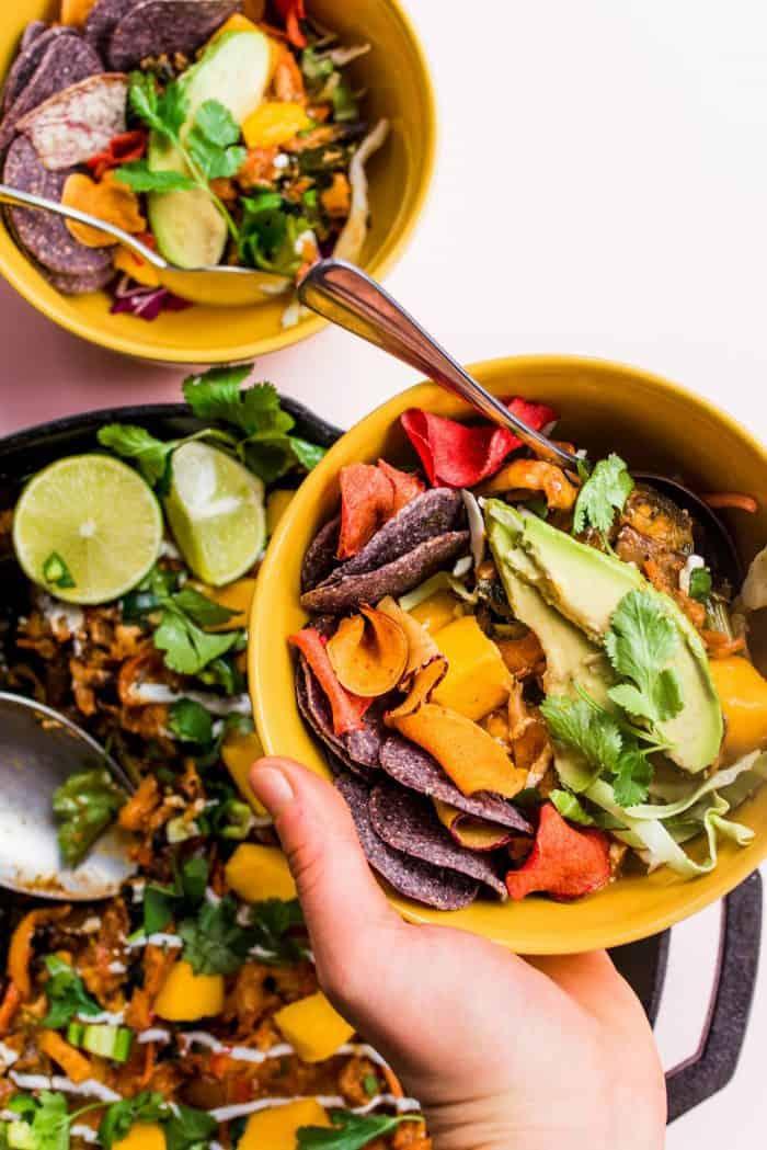 Skillet Veggie Chicken Enchilada Melt