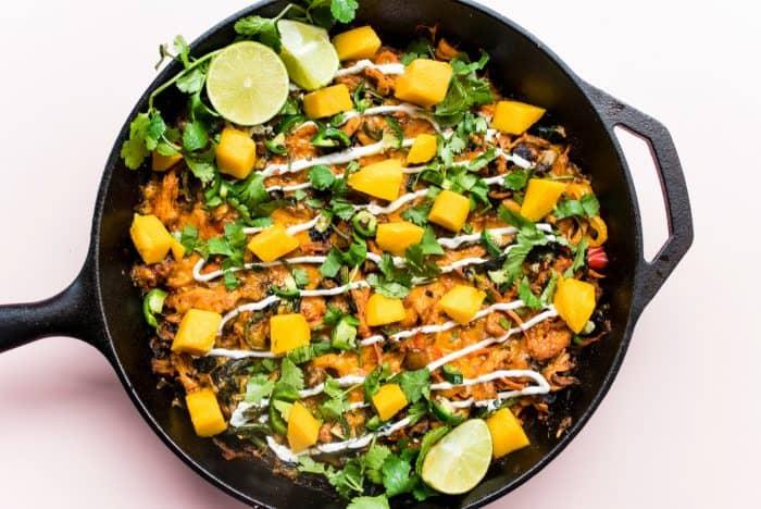 Easy Skillet Veggie Chicken Enchilada Melt