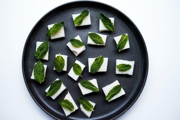 Jicama Mint Mango Bites Appetizer - how to