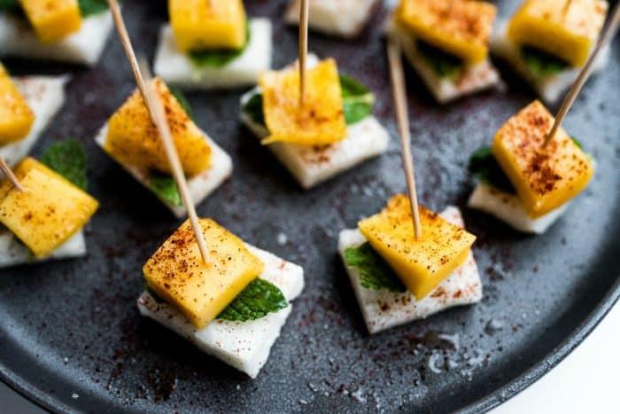Easy Jicama Mint Mango Bites Appetizer