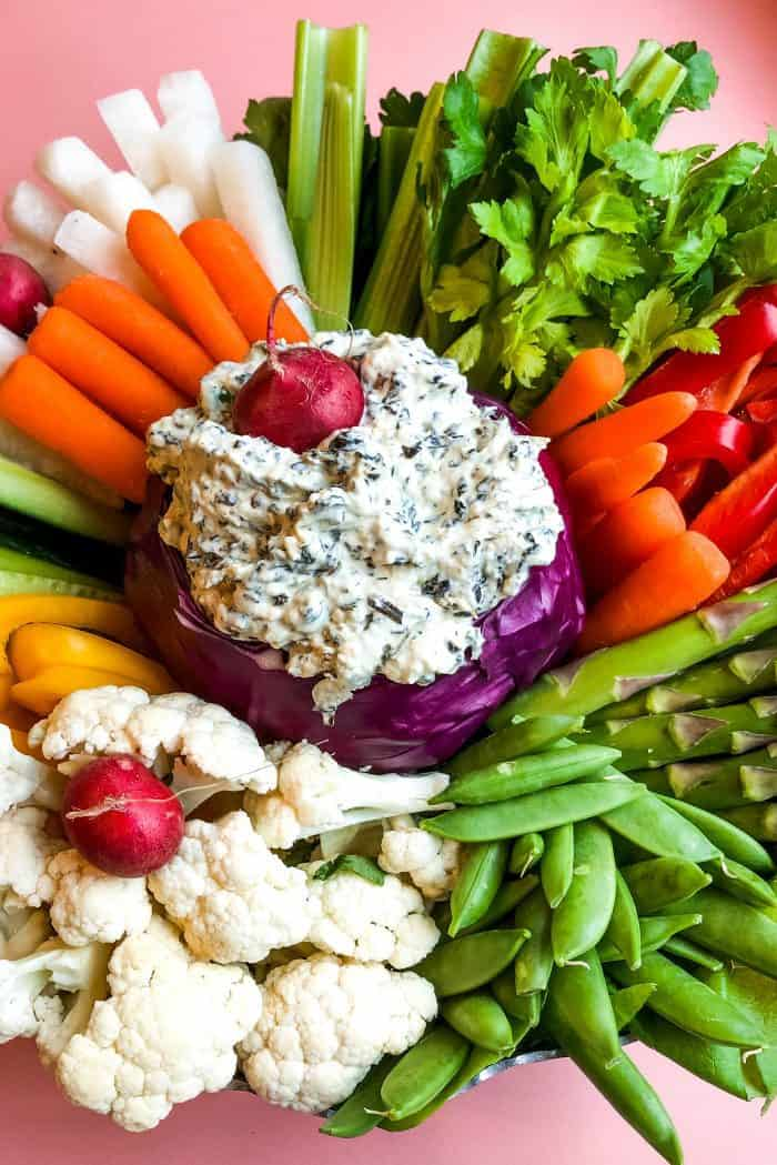 Crudites Spinach Dip Red Cabbage Bowl