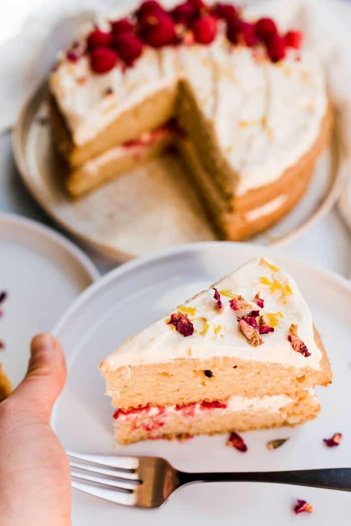Delicious Vegan Cardamom Raspberry Cake