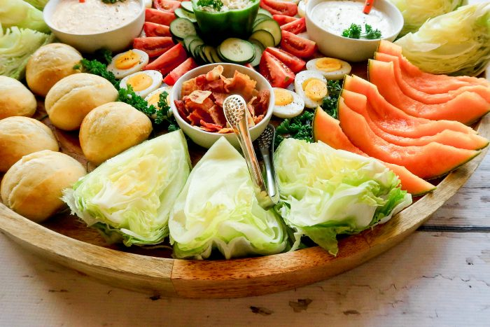 Epic Bacon Wedge Salad Board #epicsaladboard #epiccharcuterieboard #wedgesalad #wedgesaladboard