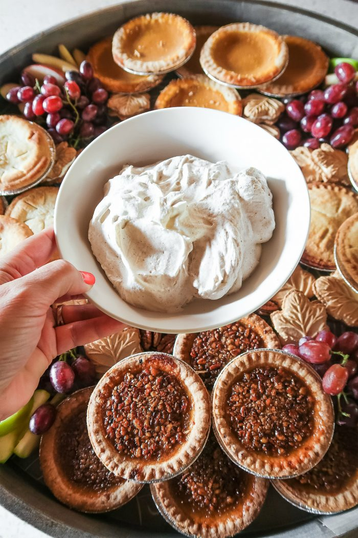 Fall Mini Pie Dessert Board - whipped cream