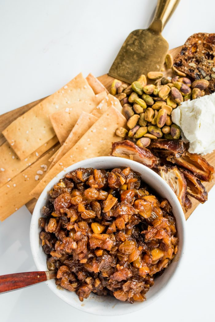The Apple Raisin Chutney Recipe with goat cheese