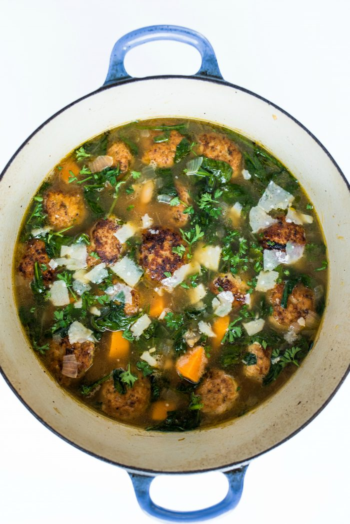Tasty Chicken Meatball Italian Wedding Soup