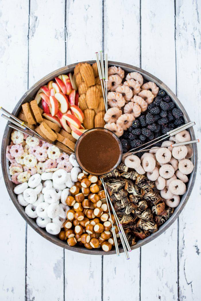 BEST Nutella Fondue Dip Dessert Board