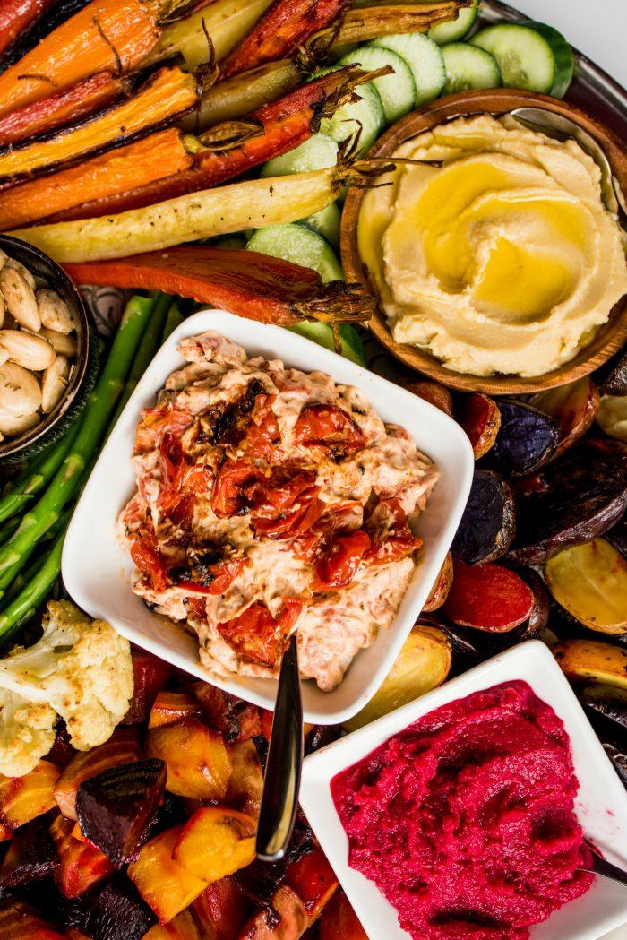 EASY Roasted Veggie Crudite Platter