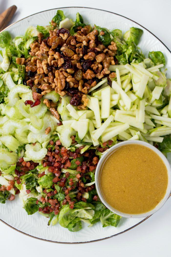 Waldorf Brussels Sprout Salad ingredients