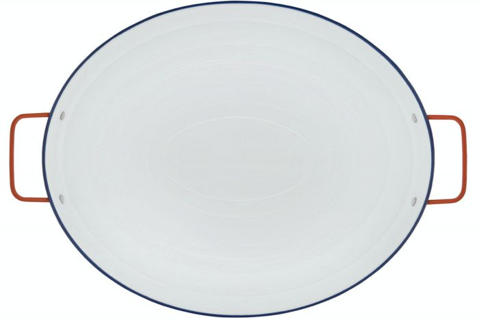 a large oval white serving tray