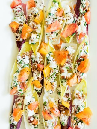 BLT Endive Bites with heirloom tomatoes